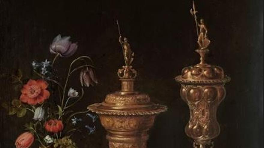 Bodegón con flores, copas doradas, monedas y conchas