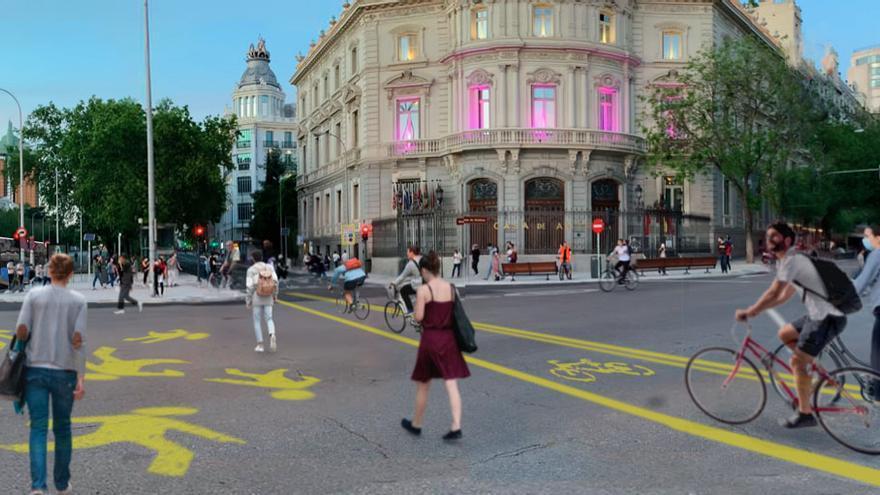 Propuesta de carril bici y peatonalización de Cibeles.