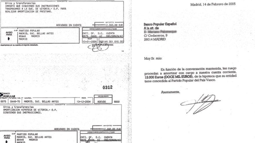 Documentación aportada por Luis Bárcenas en la que aparecen supuestos ingresos para amortizar la hipoteca de las sedes del PP vasco. /EDN.