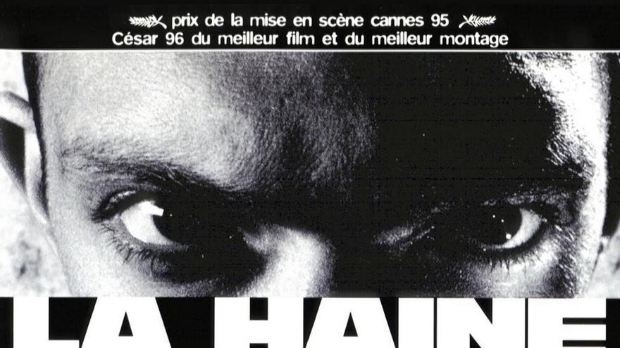 """""""Hasta aquí, todo bien"""". Cartel de la película """"El odio"""", de Mathieu Kassovitz"""