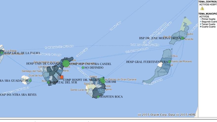 Mapa de casos activos según municipio de residencia.
