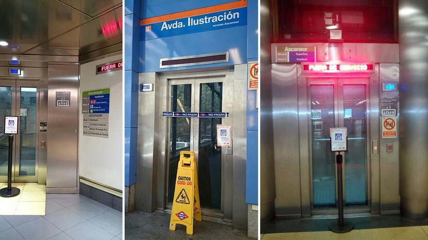 Ascensores fuera de servicio en las estaciones de Ópera y Av. Ilustración / Foto: Carmelo Dorado, presidente de ADIFA