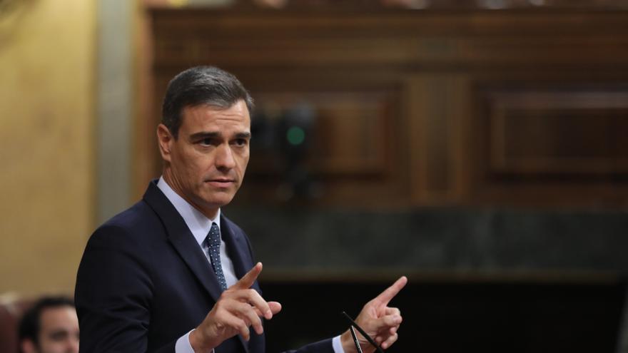 Pedro Sánchez durante su intervención en el segundo día del debate de investidura.