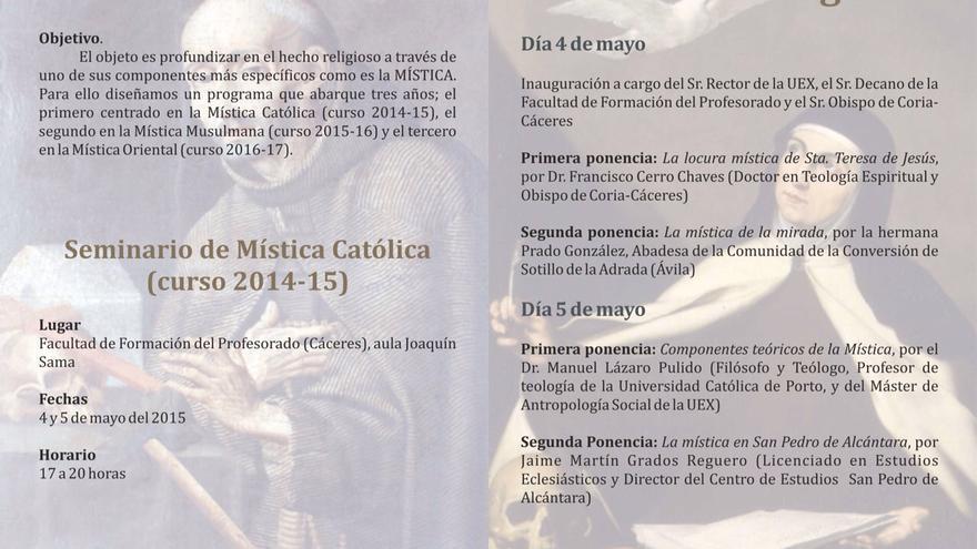 Programa del seminario de Mística Católica, impartido en la universidad por el obispo de Coria-Cáceres y una monja