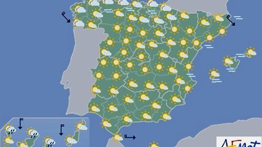 Hoy despejado con pocos cambios y en Canarias nublado aunque con más calor