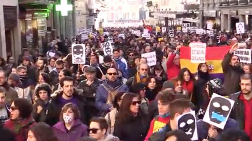 Manifestación contra la Ley de Seguridad Ciudadana en Madrid.
