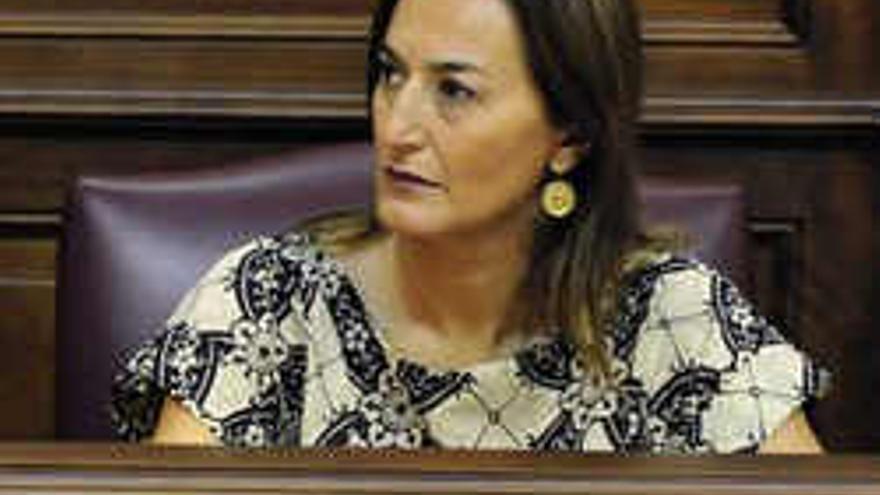Águeda Montelongo en el Parlamento de Canarias.