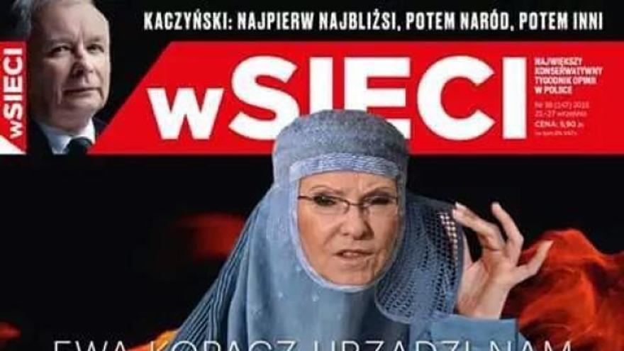 La entonces primera ministra polaca Ewa Kopacz portando un velo islámico y cargada de explosivos en la portada de wScieci.