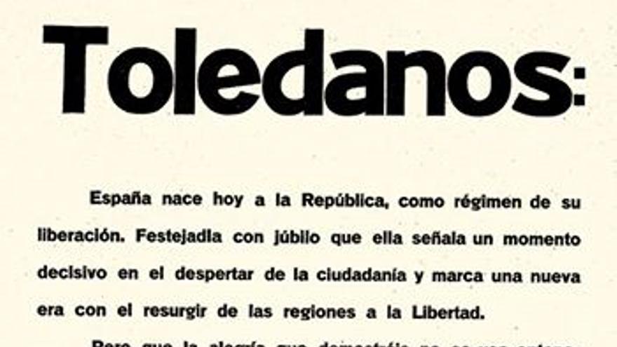 Bando que comunicaba la República en Toledo