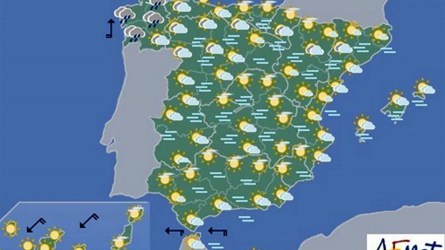 Hoy, nieblas en el nordeste y Extremadura, y lluvias en Galicia
