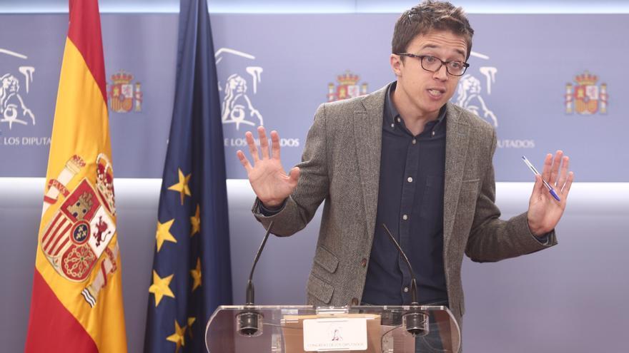 El portavoz de Más País en el Congreso, Iñigo Errejón, en rueda de prensa
