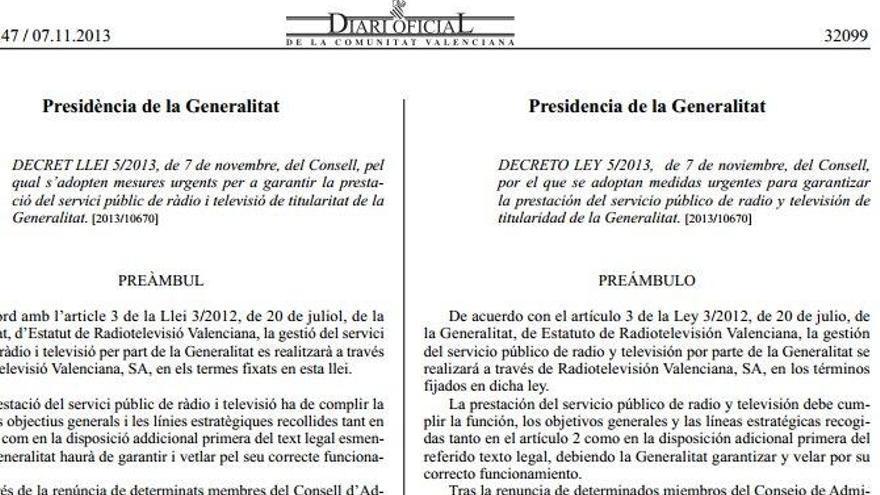 Decreto del cierre de RTVV.