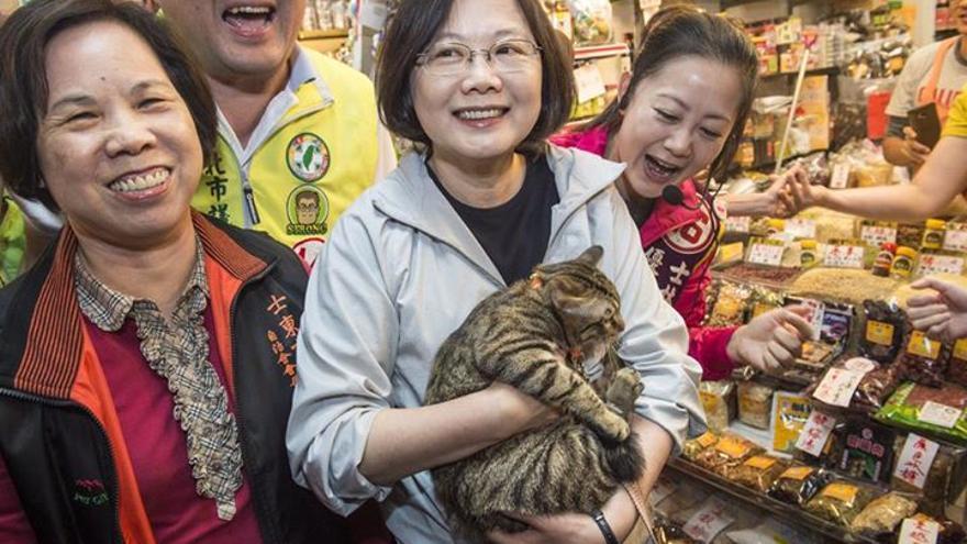 La presidenta de Taiwán suele posar con sus gatos en actos de campaña // Facebook