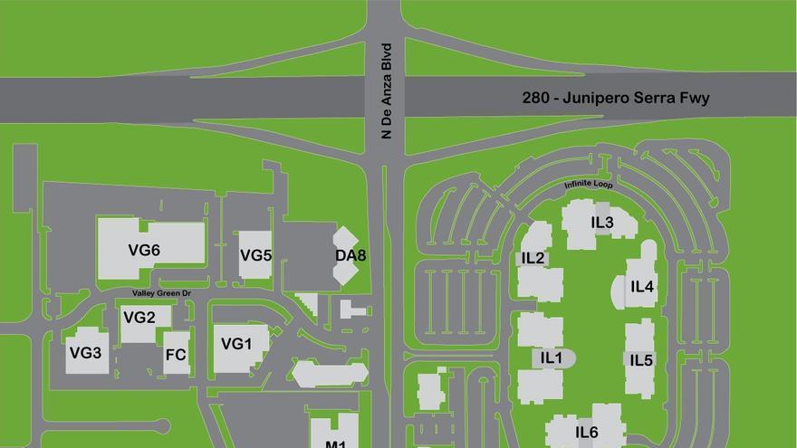 Plano donde puede verse la localización de los distintos complejos de edificios levantados por Apple
