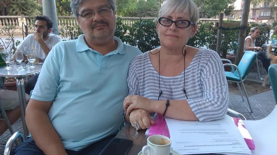 Rubén y Núria Figueras, en una terraza en Barcelona