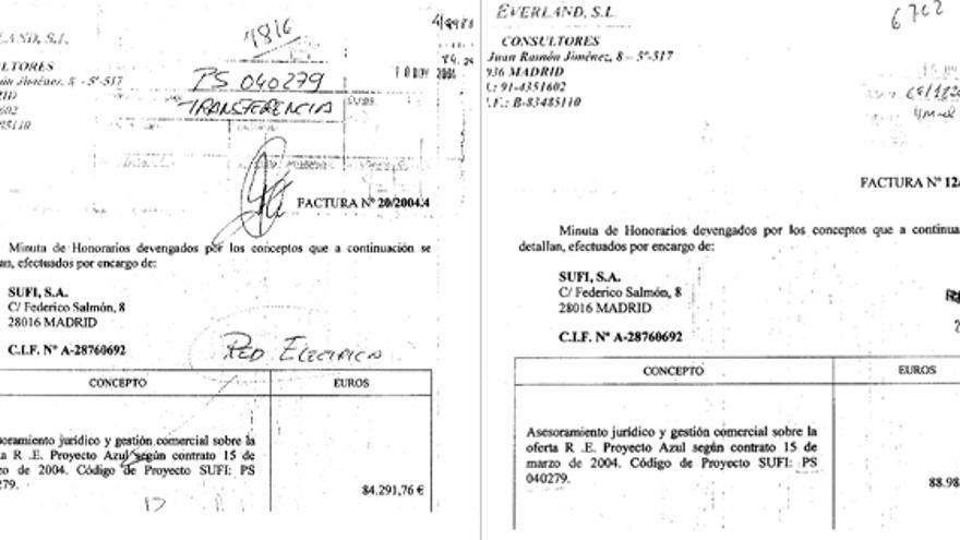 Facturas que demuestran que las empresas relacionadas con Jesús Merino cobraban comisiones de manera reiterada a empresas que recibían contratas de los gobierno del PP