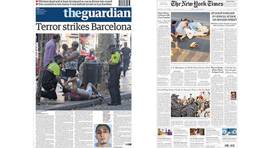 Portadas de theguardian y The New York Times
