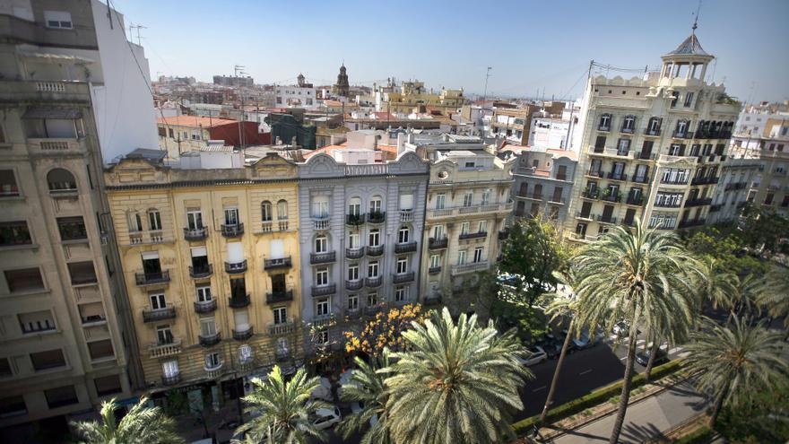 Vista del barri de Russafa des de l'Eixample.