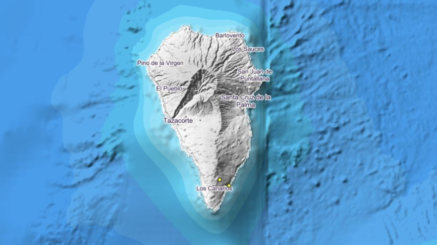 Imagen del IGN donde se indica el lugar exacto donde se han localizado los dos movimientos sísmico este martes, 19 de noviembre, en el municipio de Fuencaliente.