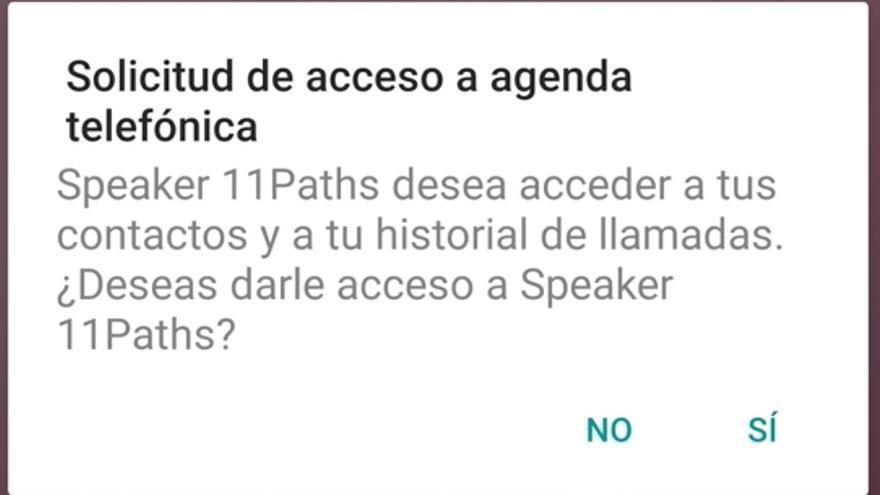 El sistema operativo Android sí notifica a los usuarios que el dispositivo Bluetooth accede a la agenda