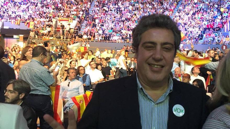 El presidente provincial de Vox en València, José María Llanos, en un acto del partido