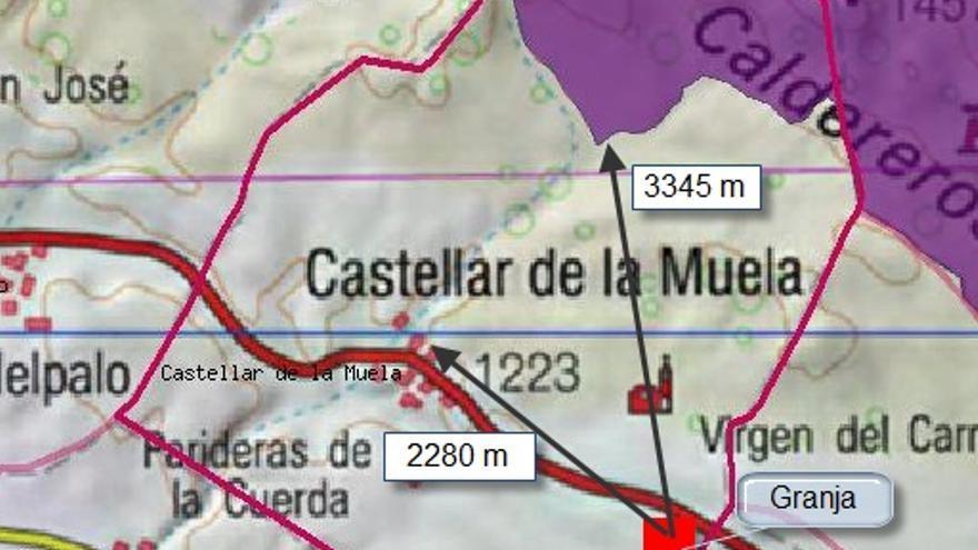 Mapa de situación del municipio de Castellar de la Muela, muy cerca de Molina de Aragón