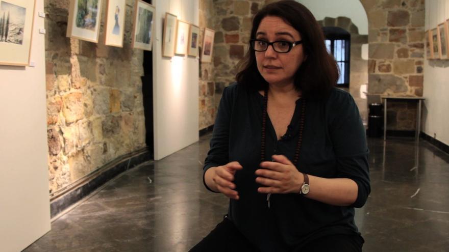 Graciela Atencio, de Femininicidio.net, durante las jornadas de Mugarik Gabe