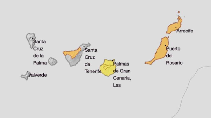 Mapa de los avisos de la Aemet para este lunes, 24 de febrero