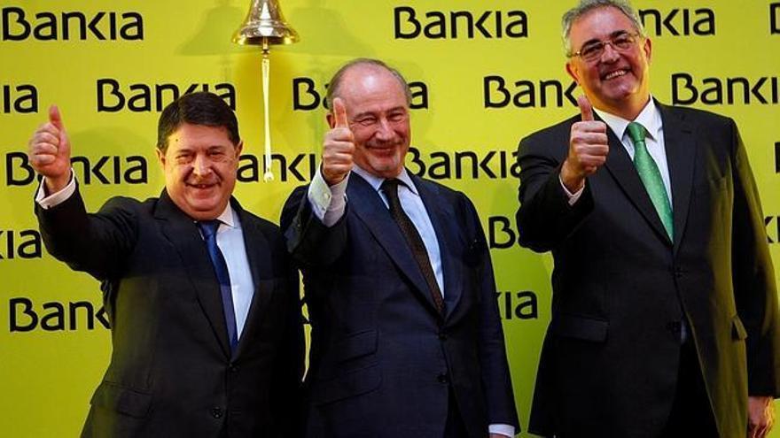 José Luis Olivas y Rodrigo Rato en un acto de Bankia.