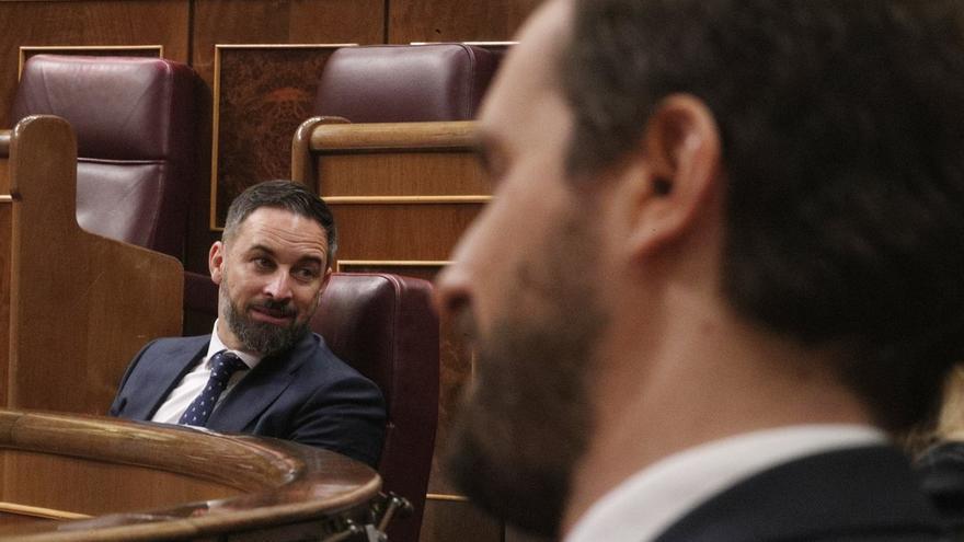 Santiago Abascal y Pablo Casado en el Congreso