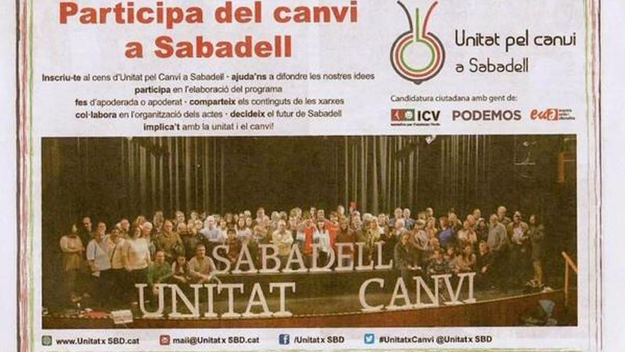 Cartelería usada por Unitat pel Canvi, con los logos de ICV, EUiA y Podemos