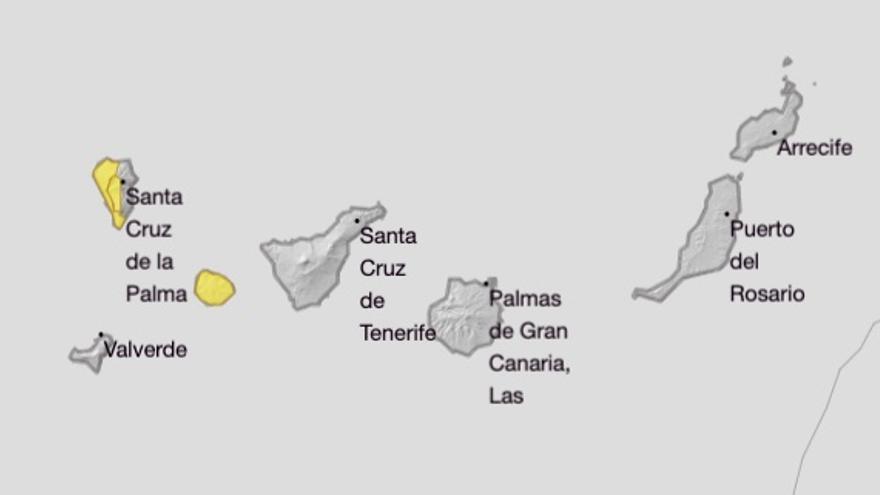 Mapa del aviso amarillo por viento fuerte en La Palma y La Gomera para este viernes