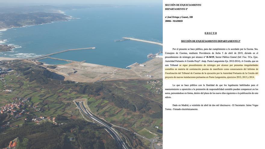Vista del puerto exterior de A Coruña durante su construcción y edicto del Tribunal de Cuentas