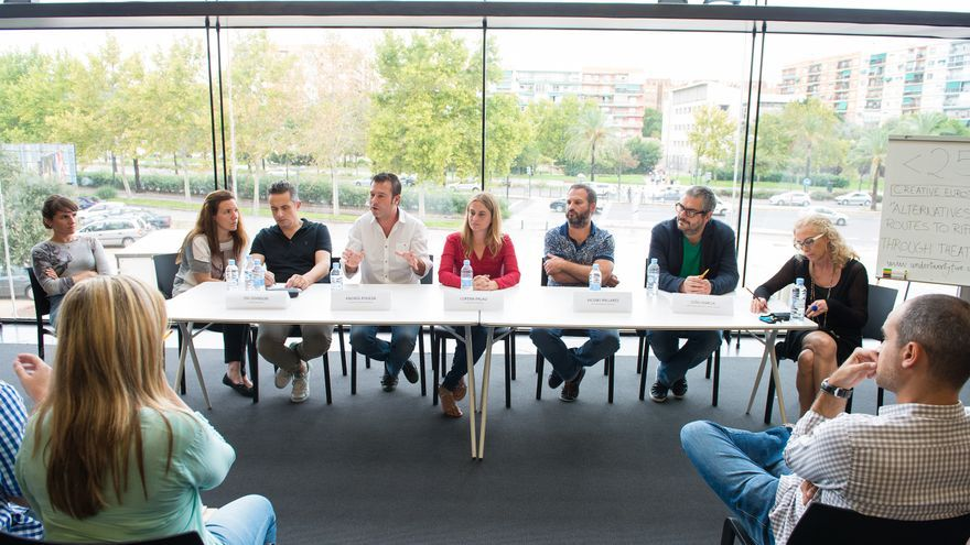 Los responsables del proyecto durante la presentación en La Rambleta