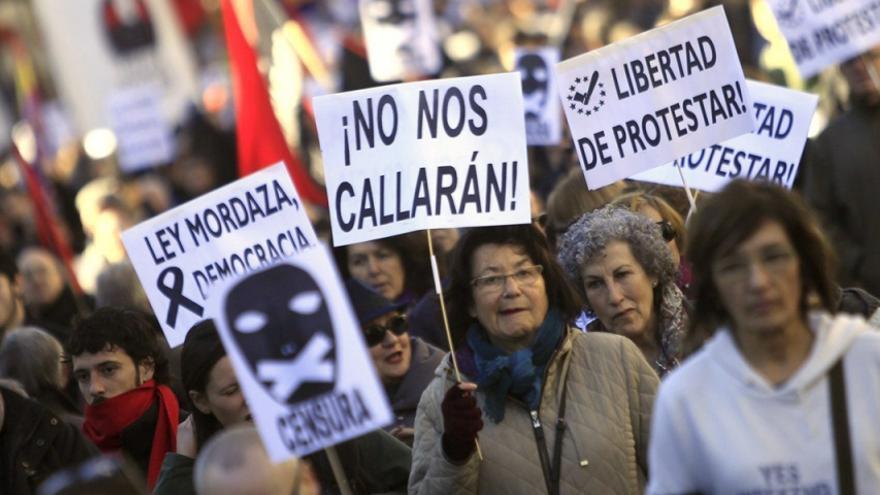 Manifestación contra la Ley Mordaza convocada por las Marchas por la Dignidad.