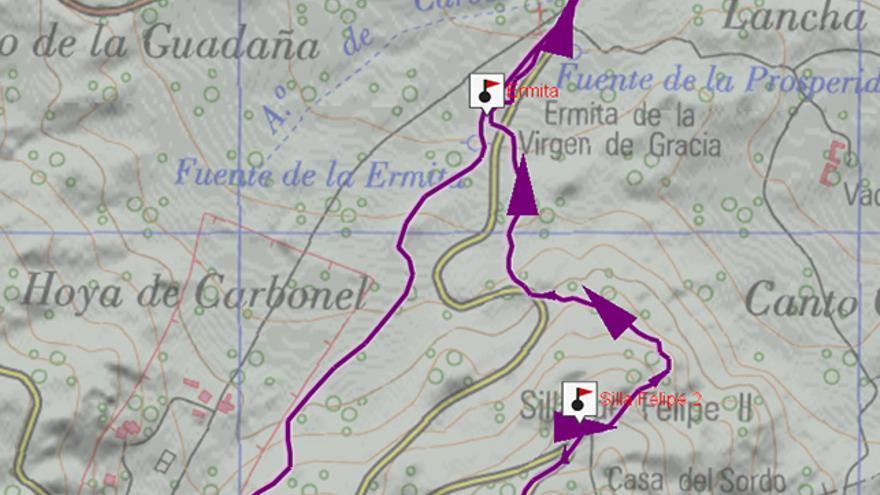 Mapa del recorrido de la ruta por el bosque de la Herrería.