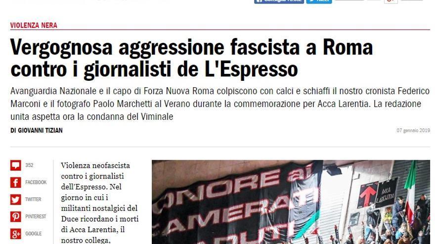 Portada de L'Espresso denunciando la agresión a dos de sus trabajadores.