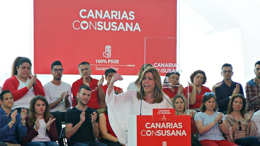 Susana Díaz, durante el mitin ofrecido en Santa Cruz de Tenerife