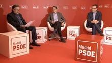 Los candidatos a las primarias del PSOE de Madrid, Pepu Hernández, Manuel de la Rocha y Chéma Dávila durante el único debate.