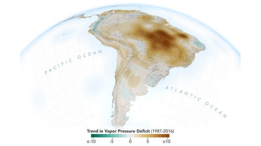 Evolución de la caída de la humedad en la Amazonia durante la estación seca, de agosto a septiembre, entre 1987 y 2016.