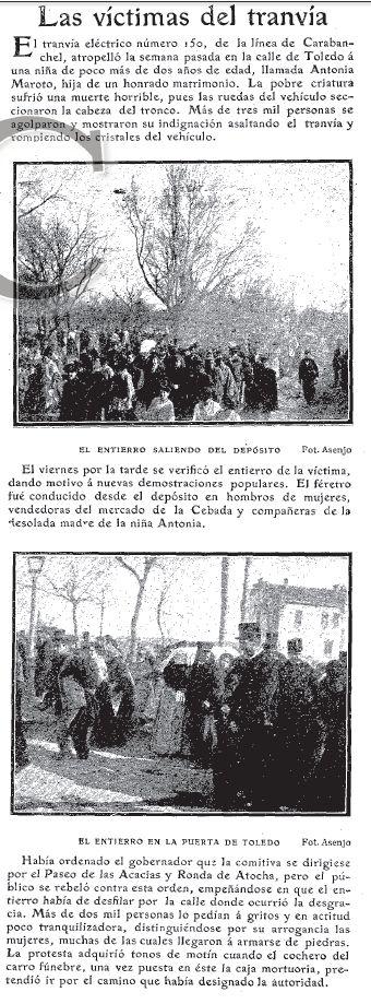 Conatos de motín popular tras el atropello de una niña por parte de un tranvía | ABC 26/03/1903