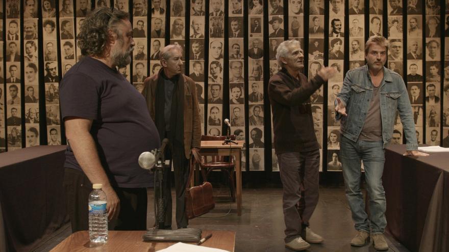 Andrés Lima, José Sacristán, Juan Margallo y Alberto San Juan, durante los ensayos // Foto: Gonzalo Bernal