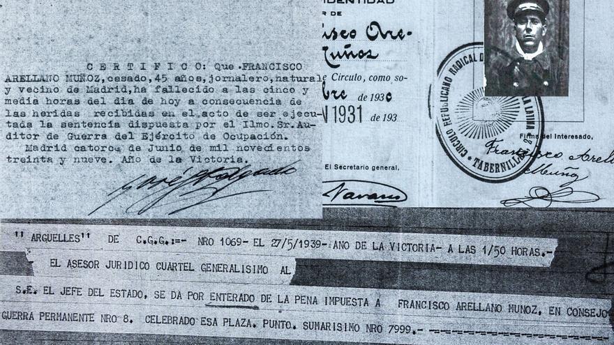 """Francisco Arellano: carnet del Círculo Republicano al que pertenecía, telegrama en el que Franco se da por """"enterado"""" de su pena de muerte y parte de defunción."""