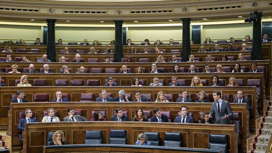 El Grupo Parlamentario Popular en el Congreso durante una intervención de Pablo Casado.