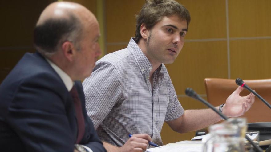El alcalde de Tolosa, Ibai Iriarte, en su intervención ante la Comisión de Salud de la Cámara vasca.