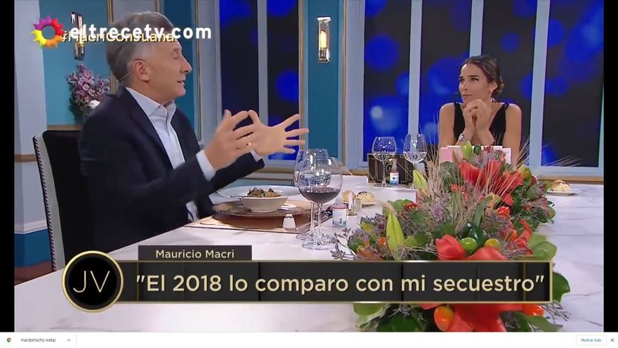 Mauricio Macri, durante la cena televisada con Juana Viale, el 29 de mayo de 2021