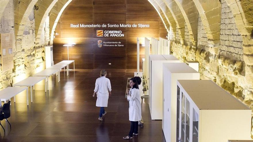 Espacio reservado para las piezas en el Monasterio de Sijena.