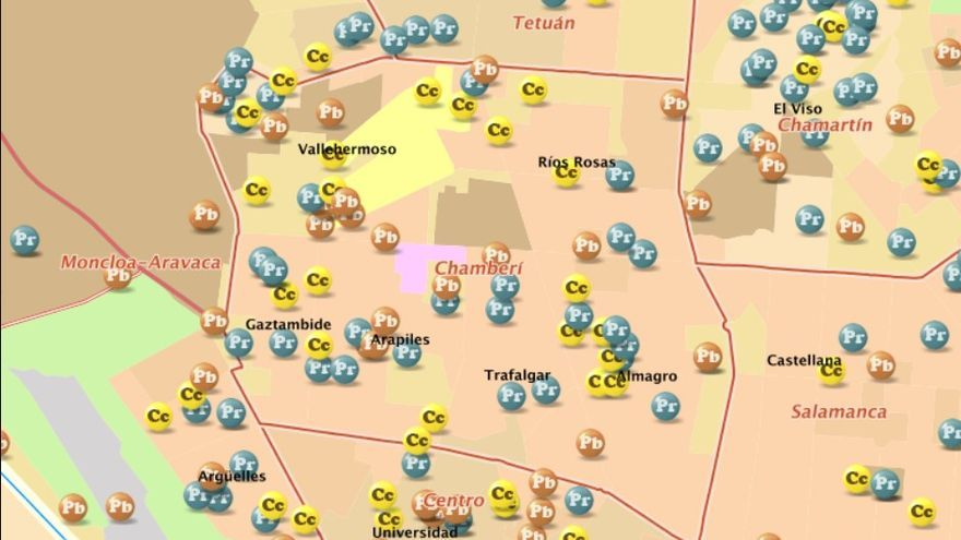 Mapa de centros educativos de Chamberí | COMUNIDAD DE MADRID