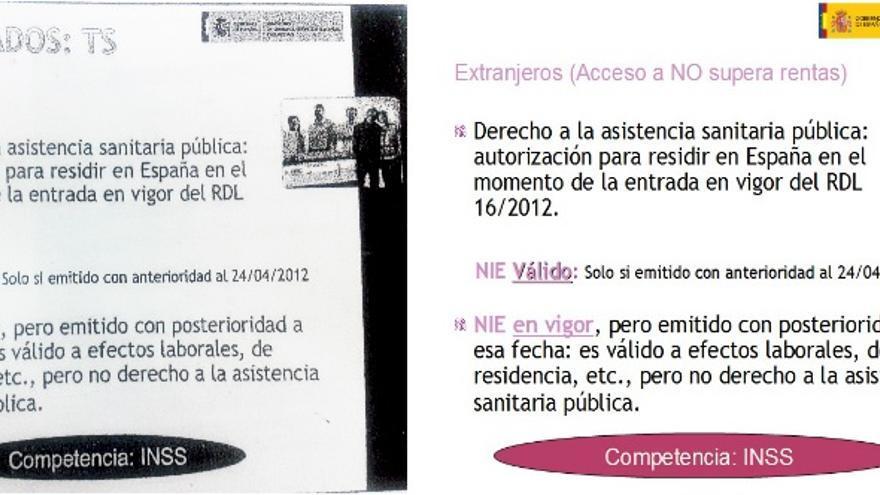 Diapositiva ambigüa (izquierda) y corregida (derecha) de las sesiones informativas de la Comunidad de Madrid