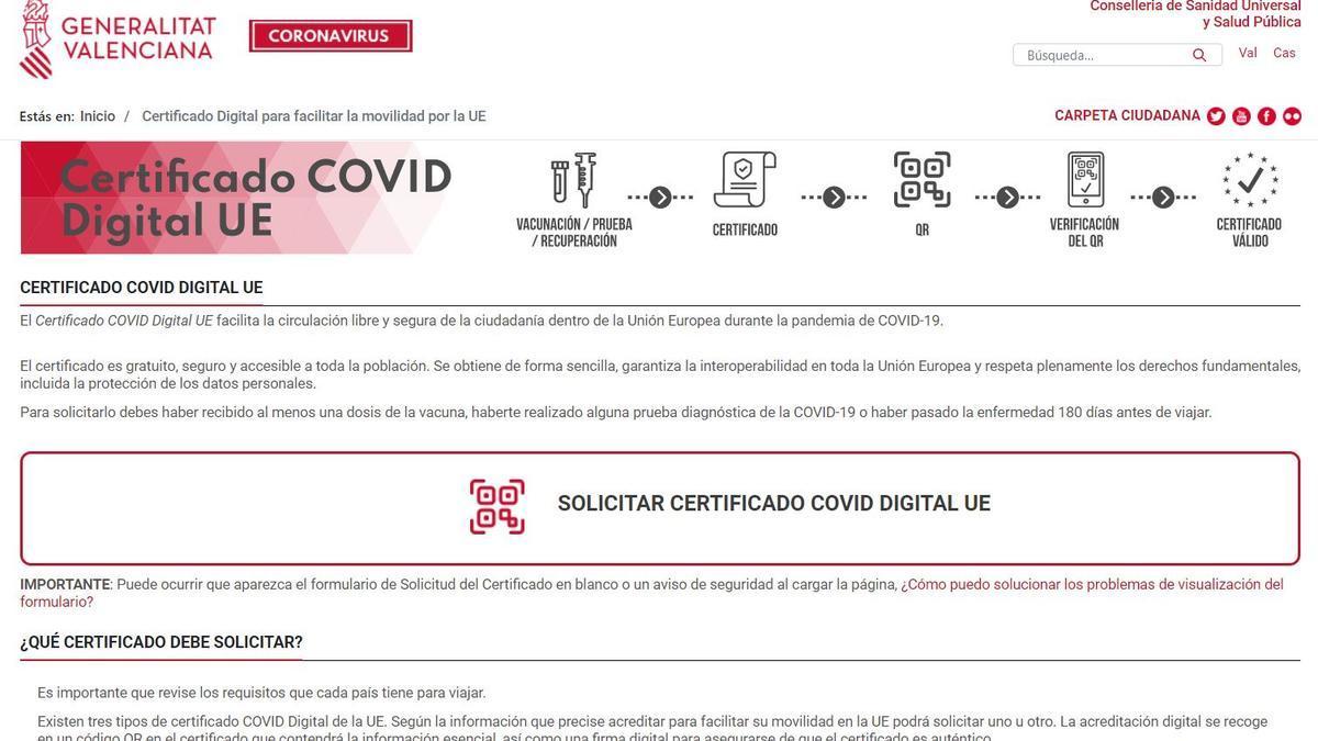 La página web de la Conselleria de Sanidad donde se solicita el certificado COVID digital de la UE.